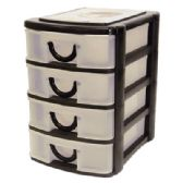 12 Units of DESKTOP ORGANIZER WITH 4 DRAWERS 8 X 7.5 X 5.5 INCH