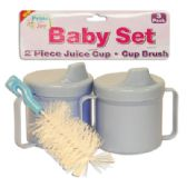 36 Units of BABY SET 3 PK - 2 PC 8 OZ JUICE CUPS + 1 PC CUP BRUSH ASSORTED COLORS