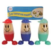 48 Units of TOOTHPICKS 3 PACK IN SMILEY FACE DISPENSER - Toothpicks