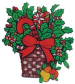 60 Units of CHRISTMAS PAPER CUT OUTS HOLLY BASKET DESIGN 21x18 INCH