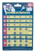 36 Units of ALKALINE BUTTON CELL BATTERIES 30 PACK ASSORTED SIZES