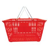 12 Units of SHOPPING/LAUNDRY BASKET 19 X 12.5 X 10 INCH WITH METAL HANDLES ASSORTED COLORS