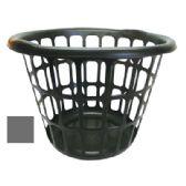 24 Units of PLASTIC LAUNDRY BASKET 16 X12 INCH ROUND BLACK OR GREY