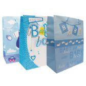48 Units of BABY BOY GIFT BAG 13 X 10.25 X 5 INCH LARGE ASSORTED DESIGNS - Gift Bags Baby