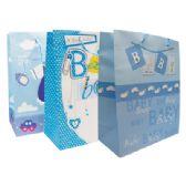 48 Units of BABY BOY GIFT BAG 18 X 13 X 4 INCH JUMBO ASSORTED DESIGNS - Gift Bags Baby
