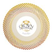 12 Units of CROWN DINNERWARE DESSERT PLATE 10 PACK 7 INCH DISTINCTIVE COLLECTION GOLD - Disposable Plates & Bowls