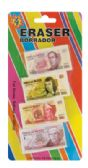 36 Units of ERASER 4 PC MEXICAN MONEY DESIGN