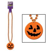 12 Units of Beads w/Printed Jack-O-Lantern Medallion - Hanging Decorations & Cut Out