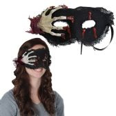 12 Units of Skeleton Hand Mask black ribbon ties - Party Hats & Tiara