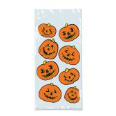 12 Units of Pumpkin Cello Bags twist ties included - Party Favors