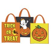 36 Units of Halloween Treat Bags heavyweight plastic w/handles; asstd designs; prtd 2 sides - Hanging Decorations & Cut Out