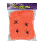 12 Units of FR Giant Spider Web orange; 4–2  spiders included - Party Novelties