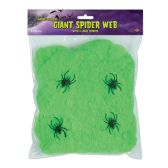 12 Units of FR Giant Spider Web slime green; 4–2  spiders included - Party Novelties