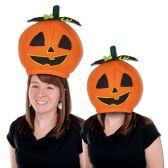 6 Units of Plush Pumpkin Head Hat one size fits most