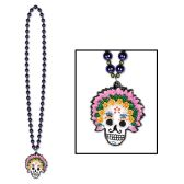 12 Units of Beads w/Day Of The Dead Medallion - Party Necklaces/Bracelets/Headpiece