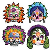 12 Units of Day Of The Dead Masks elastic attached - Party Hats & Tiara
