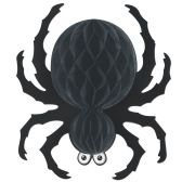 12 Units of Black Tissue Spider - Hanging Decorations & Cut Out