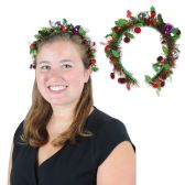 12 Units of Holiday Tinsel Garland Headband attached to snap-on headband