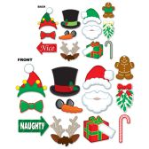 12 Units of Christmas Photo Fun Signs prtd 2 sides w/different designs; 4 wooden dowels included