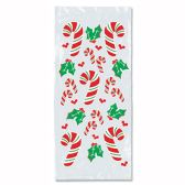 12 Units of Candy Cane & Holly Cello Bags twist ties included - Party Favors