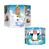 6 Units of Winter Photo Prop 1 side snowman; other side penguin; prtd 2 sides w/different designs