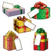24 Units of Mini Christmas Gift Cutouts prtd 2 sides