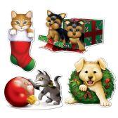 12 Units of Christmas Puppy & Kitten  Cutouts prtd 2 sides