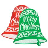 12 Units of Glittered Christmas Bell Signs asstd red & green