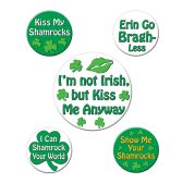 12 Units of St Patrick's Funny Party Buttons asstd designs
