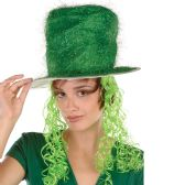 6 Units of Tinsel Top Hat w/Curly Wig one size fits most - Party Hats & Tiara