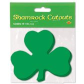 24 Units of Pkgd Printed Shamrock Cutouts prtd 2 sides - Hanging Decorations & Cut Out