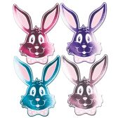 24 Units of Foil Bunny Silhouettes asstd colors; foil/prtd 2 sides - Streamers & Confetti