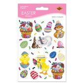 12 Units of Bunny, Basket & Egg Stickers