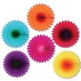 12 Units of Mini Flower Fans asstd colors - Hanging Decorations & Cut Out