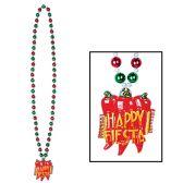 12 Units of Beads w/Fiesta Medallion - Party Necklaces/Bracelets/Headpiece