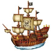 12 Units of Jointed Pirate Ship prtd 2 sides - Bulk Toys & Party Favors