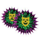 12 Units of Mardi Gras Fan-Burst - Hanging Decorations & Cut Out