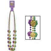 12 Units of Mardi Gras Mask Beads asstd gold, green, purple - Party Hats & Tiara