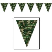 12 Units of Camo Pennant Banner all-weather; 12 pennants/string - Party Banners