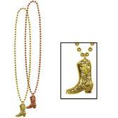12 Units of Beads w/Cowboy Boot Medallion asstd copper & gold - Party Necklaces/Bracelets/Headpiece