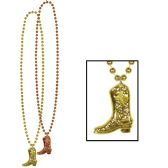 12 Units of Beads w/Cowboy Boot Medallion internet friendly; no retail packaging - Party Necklaces/Bracelets/Headpiece