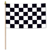 12 Units of Checkered Flag - Fabric w/10½  spear-tipped wooden stick - Party Novelties