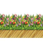 6 Units of Tropical Flower & Bamboo Walkway Border insta-theme - Party Novelties
