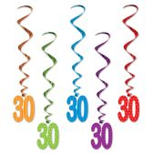6 Units of Polka dot 30 Whirls asstd colors - Streamers & Confetti