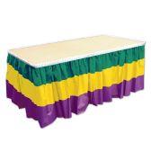 6 Units of Mardi Gras Table Skirting golden-yellow, green, purple; plastic; self-adhesive
