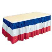 6 Units of Patriotic Table Skirting red, white, blue; plastic; self-adhesive