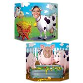 6 Units of Barnyard Friends Photo Prop 1 side cows; other side pigs; prtd 2 sides w/different designs