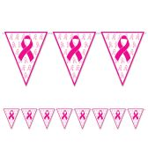 12 Units of Pink Ribbon Pennant Banner all-weather; 12 pennants/string - Party Banners