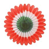 12 Units of Mini Tissue Fans red, white, green - Hanging Decorations & Cut Out