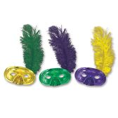 50 Units of Metallic Half Masks w/Plume asstd gold, green, purple; elastic attached - Party Hats & Tiara